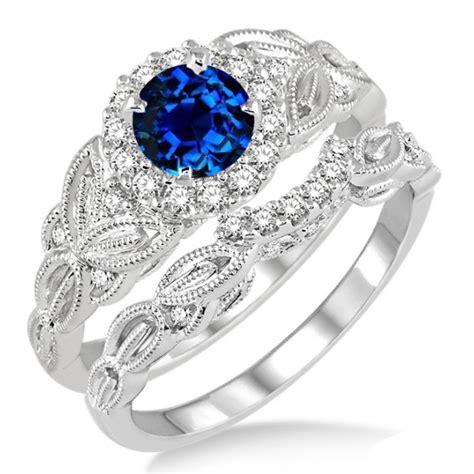 1.25 Carat Sapphire and Diamond Vintage floral Bridal Set