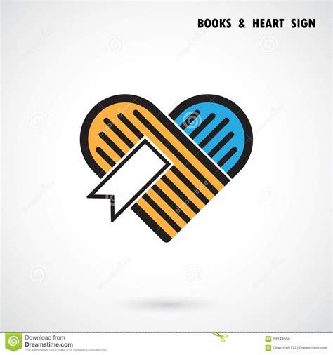 logo design love book creative book and heart abstract vector logo design book