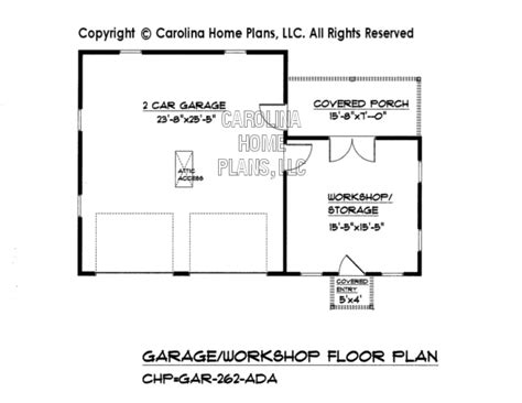 Slab House Plans by Country Style Garage Workshop Plan Gar 262 Ad Sq Ft