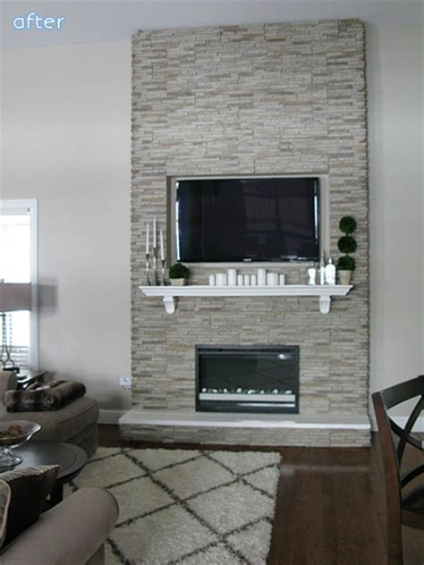 Floor To Ceiling Fireplace Makeover by Stonewalled Better After