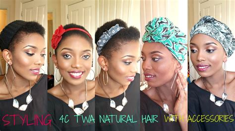 Natural Hair/Styling(4C TWA) With Scarf And Accessories(8