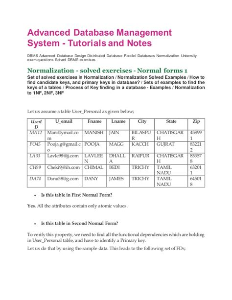 normalization tutorial questions dbms notes and tutorial normalization solved question