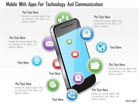 mobile app presentation mobile with apps for technology and communication ppt slides