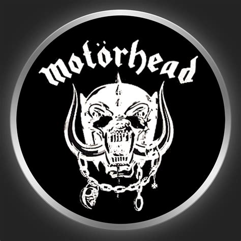 Motorhead Logo mot 214 rhead white logo on black button
