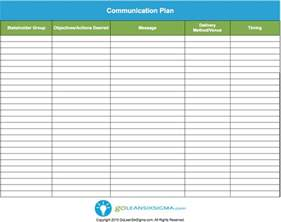 template for communication plan communication plan template goleansixsigma lean