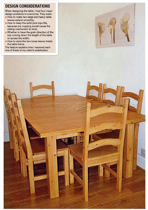 pine dining table  chairs plans woodarchivist