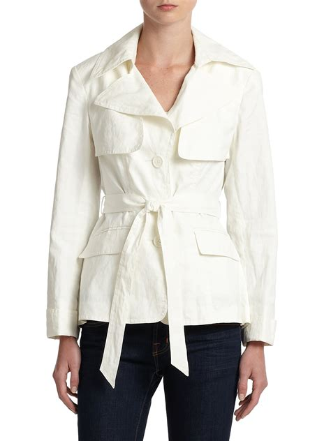 Cropped Trench Coats by Lafayette 148 New York Barlow Cropped Trench Coat In White