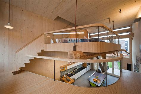 mezzanine wooden interior eco friendly house in amsterdam