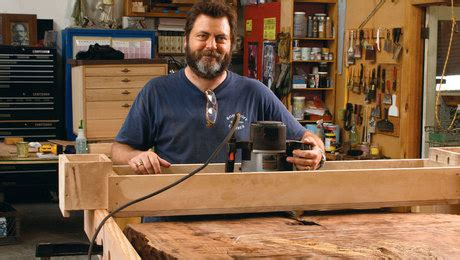 nick offerman everything s fine tour nick offerman s workshop finewoodworking