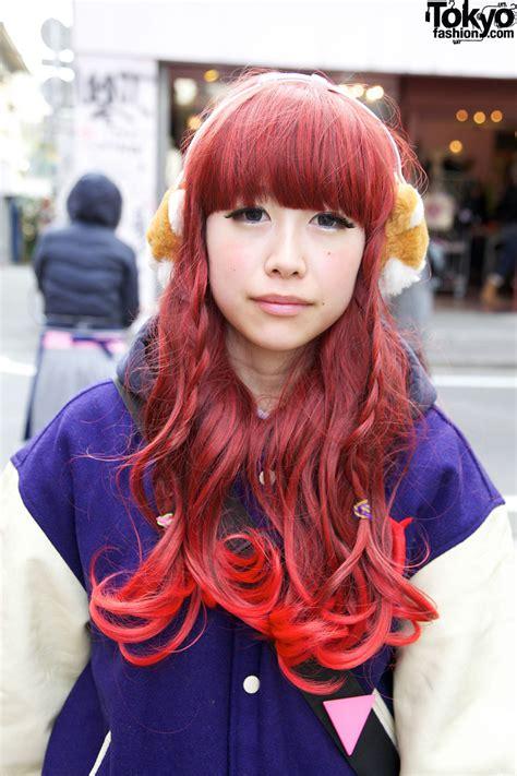hair by tokyo girl s purple letterman jacket short shorts hot pink tights