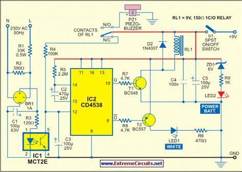 how to build mains supply failure alarm circuit diagram