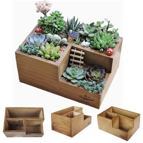 Wooden Succulent Planter Boxes For Indoor House Miniature Succulent Planter Box