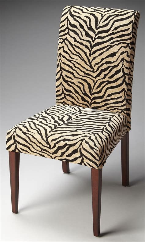 loft zebra print fabric parsons chair  butler  coleman furniture