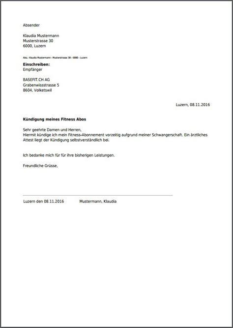 Musterbrief Parkverbot Vorlage K 252 Ndigung F 252 R Fitness Abo Einfach Als Pdf Erstellen