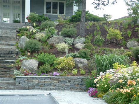 Design For Hillside Landscaping Ideas Ideas For Large Walls Creek Beds Landscape Design