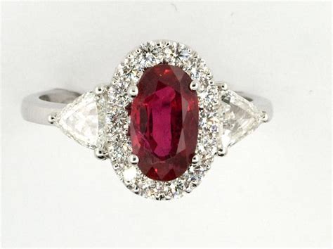 Ruby 13 38 Ct unique ring with ruby and diamonds grs blood