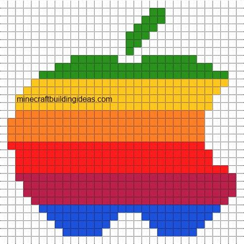 minecraft pixel art templates apple logo mc blueprints