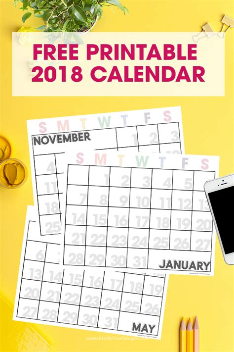 free printable monthly calendar large numbers 2018 free printable calendars lolly jane