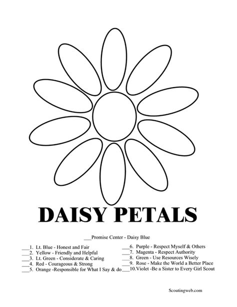 sunny petal coloring page daisy girl scout coloring pages free free printable