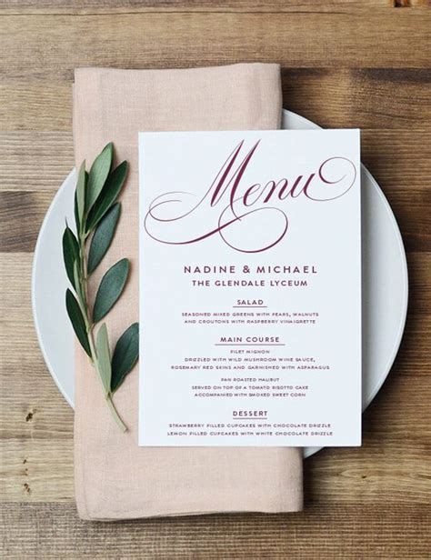Menu Table Cards Template by Printable Menu Card The Nadine Collection In Marsala