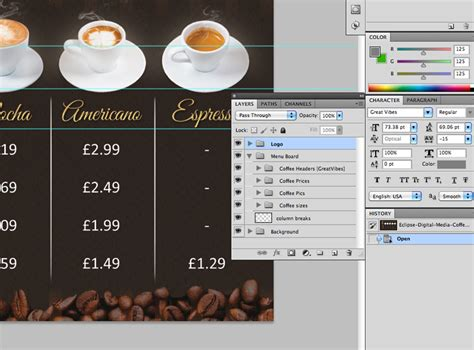 digital menu board templates coffee shop version 2 menu board psd template eclipse