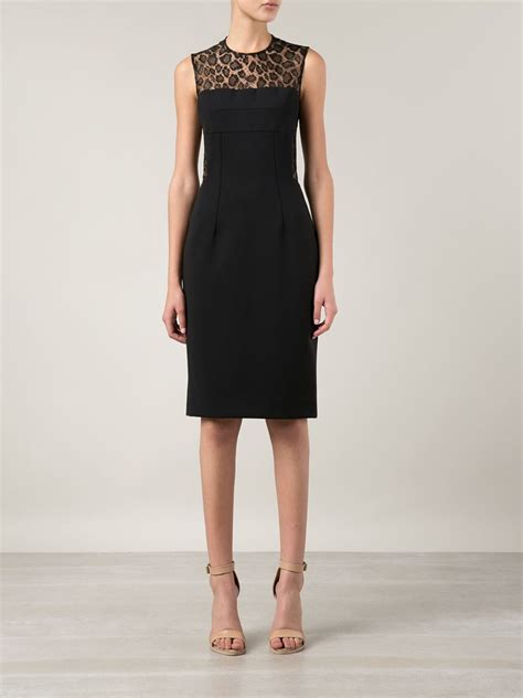Lace Panel Cocktail Dress mcqueen lace panel cocktail dress in black lyst