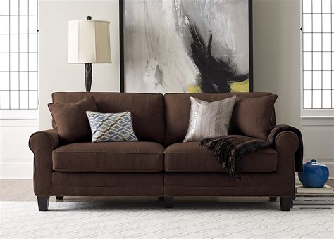 Chocolate Couches by Serta Chocolate Sofa Includes 2 Decorative Pillows