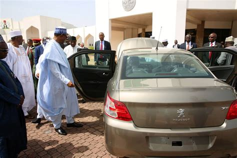 peugeot nigeria made in nigeria peugeot cars inspected by president buhari