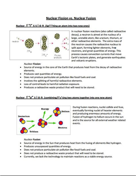 Nuclear Fission And Fusion Worksheet fission and fusion worksheet abitlikethis