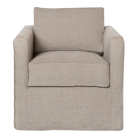 Cisco Brothers Vista Modern Classic Slip Cover Natural Swivel Chair Covers