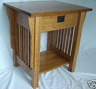 Oak Bedroom Side Tables Crafted New Mission Style Solid Oak Wood Bedside