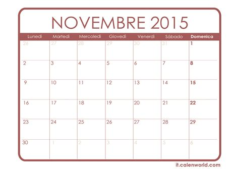 Calendario Novembre Calendario Novembre 2015 Calendari