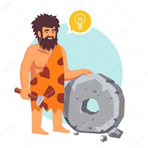 clipart uomo uomo ha avuto un idea e inventa una ruota vettoriali