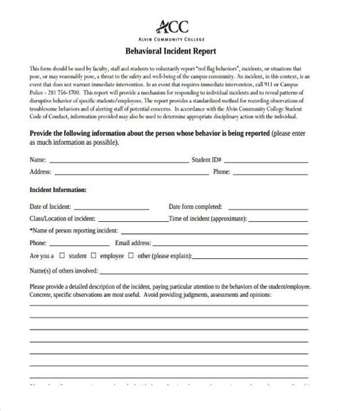 behaviour report template 39 free incident report templates free premium templates