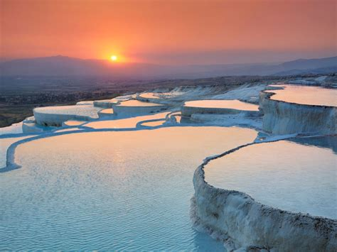 pamukkale hot springs sunrise over the pamukkale hot springs in denizli province of southern turkey the amazing pics