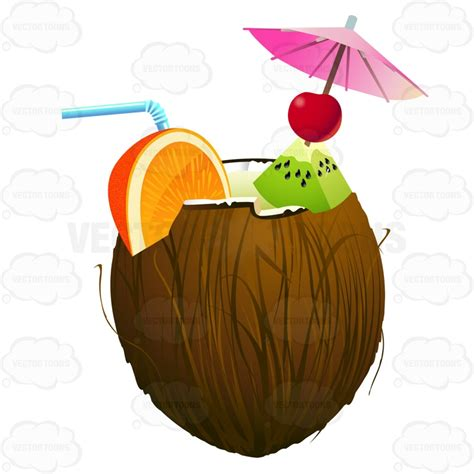 tropical drink emoji cartoon clipart coconut that has been opened and has