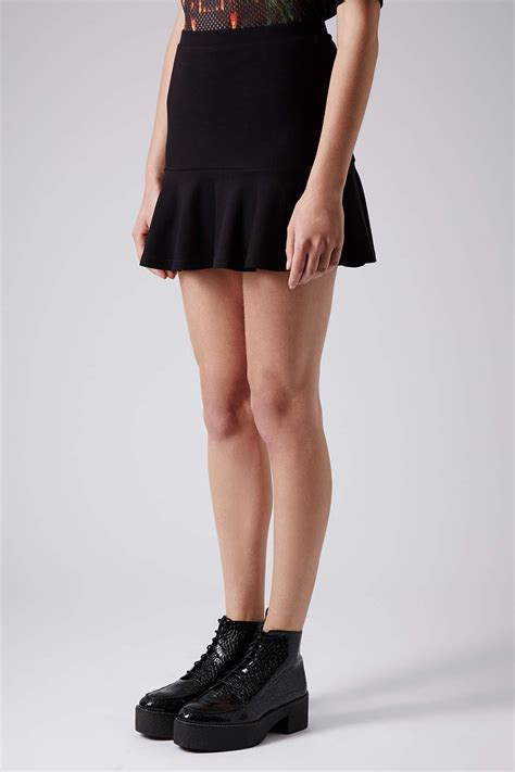 Topshop Black Mini Dress topshop black drop hem mini skirt in black lyst