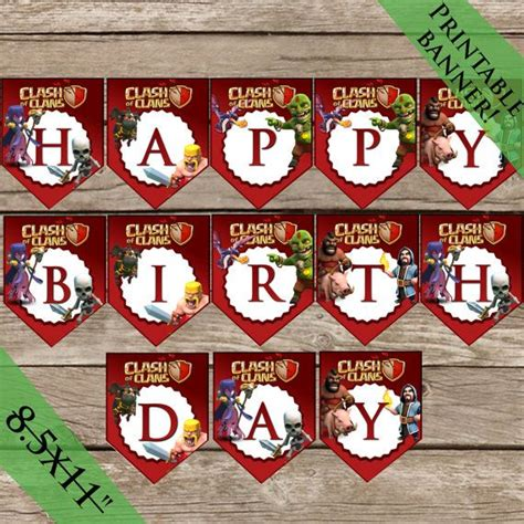 clash of clans printable birthday banner clash of clans birthday banner printable party decoration