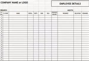 employee details format in excel