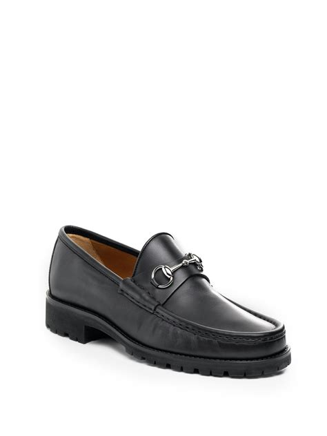 lug sole loafer gucci silver bit lug sole loafers in black for lyst