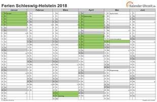 Kalender 2018 Schleswig Holstein Ferien Schleswig Holstein 2018 Ferienkalender Zum Ausdrucken