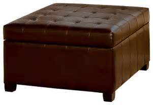 Leather Storage Ottoman Lyncorn Leather Storage Ottoman Coffee Table Contemporary Footstools And Ottomans By Great