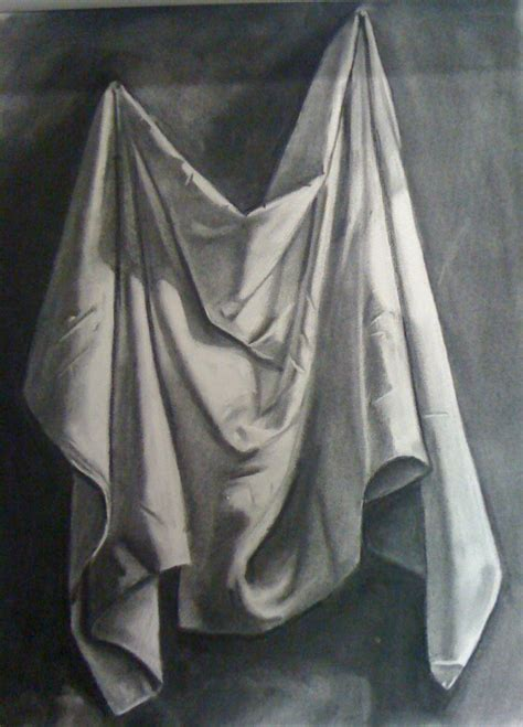 drawing drapery folds still life fabric drawing wip by cynister009 on deviantart