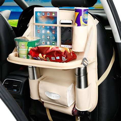 Seat Protector Organizer 2 In 1 Kick Mat Organizer T1310 beige brown black car seat cover waterproof pu leather