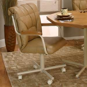 Casters For Dining Room Chairs Light Brown Leather Chair With Back Combined With Arm Rest Also White Steel Legs With Small