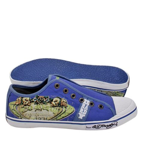 buy ed hardy navy skull canvas shoes for