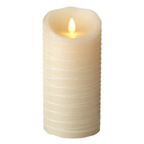 luminara fireless candle ultra realistic flameless candle luminara 02190 3 5 quot x 7 quot ivory spun glitter ribbon