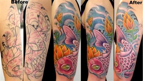 koi tattoo black and grey cover up koi fish cover up by davezjamestattoos on deviantart