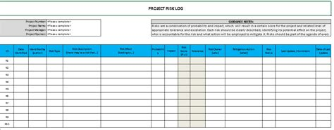 raid log template excel free project management