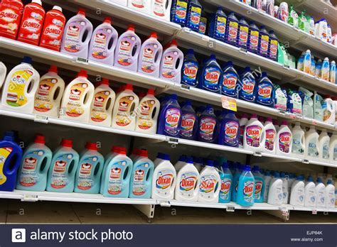 Laundry Detergent Shelf by Shelves Filled With Bottles Liquid Laundry Detergent In A